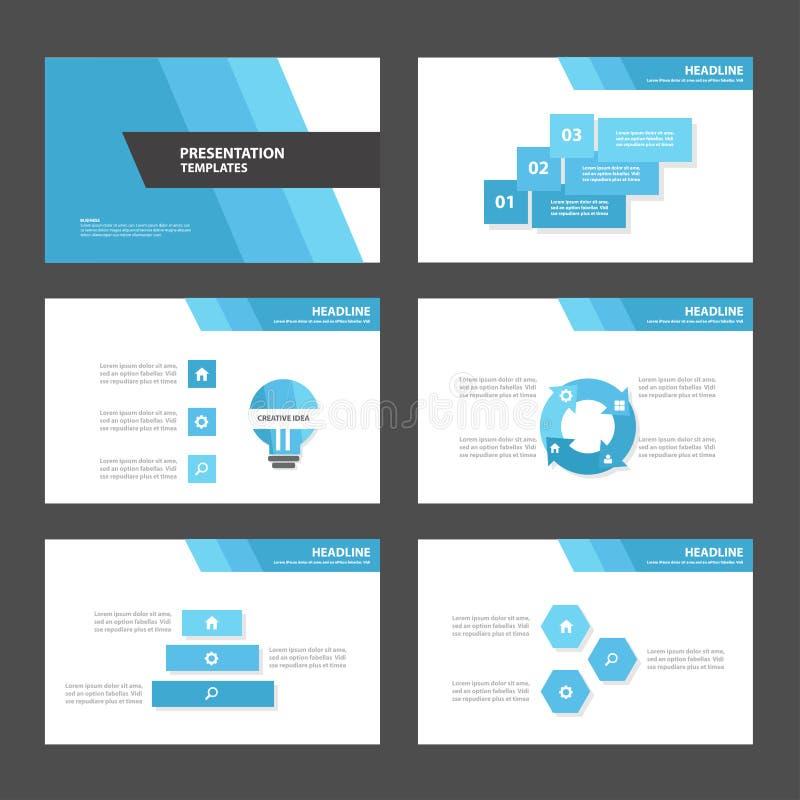 Den blåa för presentationsmallen för polygon 2 Infographic beståndsdelar och symbolslägenheten planlägger vektor illustrationer