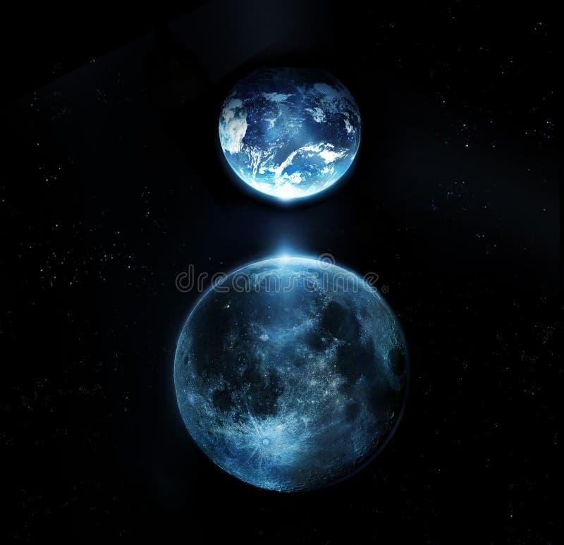 Den blåa fullmånen och jordar en kontakt alla stjärnor på natt-originalet bilden från NASA royaltyfri foto