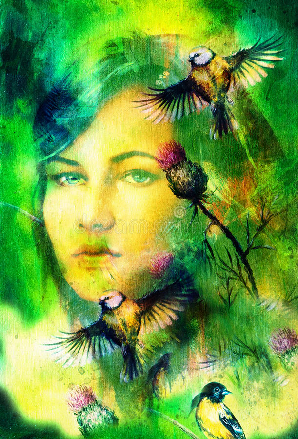 Den blåa gudinnakvinnan synar med fåglar på den flerfärgade bakgrundsögonkontakten, kvinnaframsidacollage vektor illustrationer