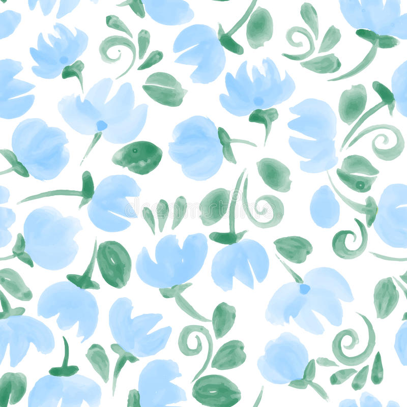 Den blåa gulliga vattenfärgen blommar den sömlösa modellen royaltyfri illustrationer