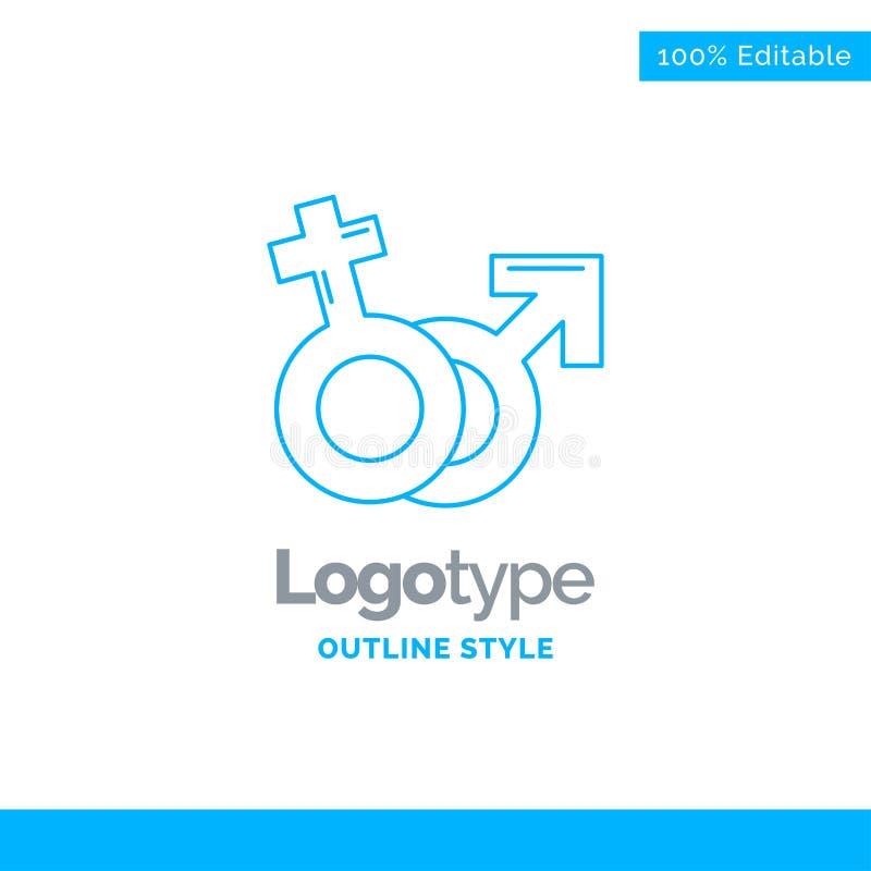 Den blåa logodesignen för genuset, Venus, fördärvar, manligt, kvinnligt Affär stock illustrationer