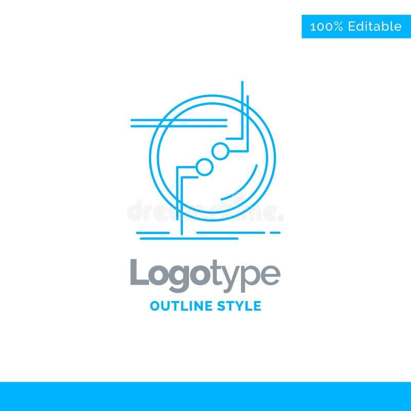 Den blåa logodesignen för kedja, förbinder, anslutning, sammanlänkningen, tråd buss stock illustrationer