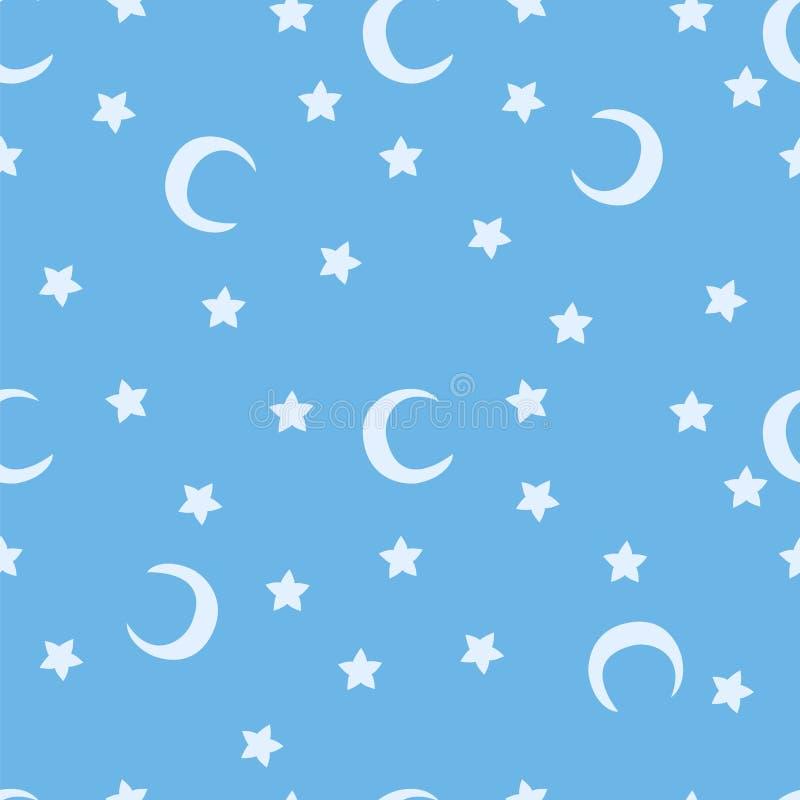 Den blåa månen och stjärnahimmel skrivar ut den sömlösa modellen stock illustrationer