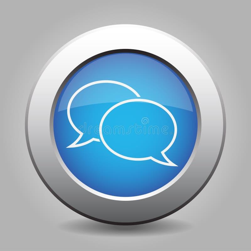 Den blåa metalliska knappen, vitt anförande bubblar symbolen stock illustrationer
