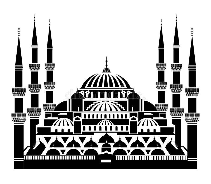Den blåa moskén, Istanbul stock illustrationer
