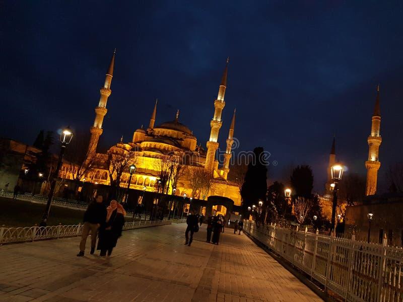 Den blåa moskén på nigth fotografering för bildbyråer