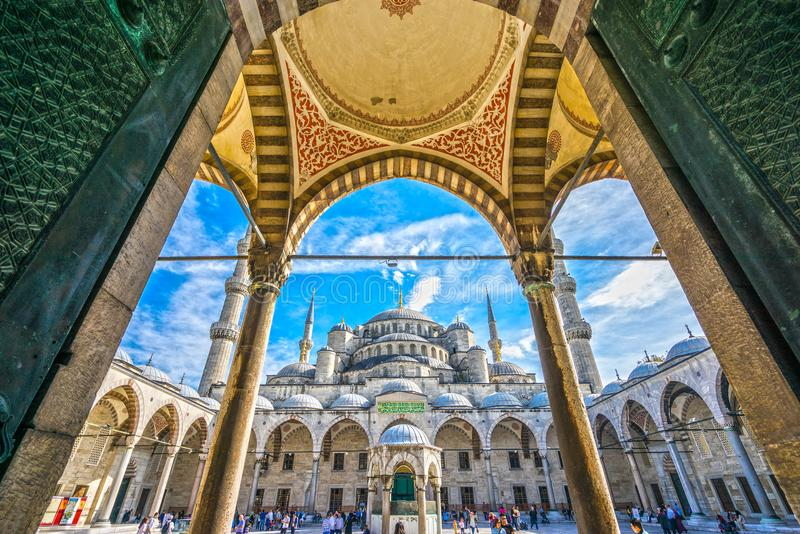 Den blåa moskén, Sultanahmet Camii, Istanbul, Turkiet arkivfoto