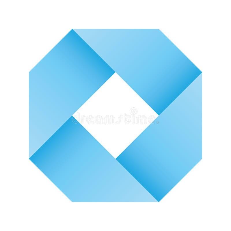 Den blåa oändliga bandöglan vek i en form av fyrkanten symbol för vektor 3D-like Modern symbolsdesign stock illustrationer
