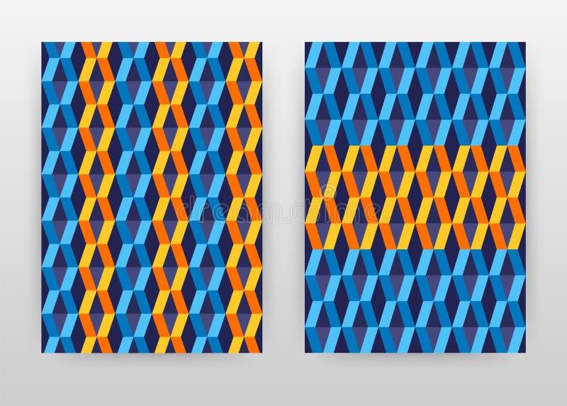 Den blåa orange geometriska modellen formar affärsbakgrundsdesignen för årsrapporten, broschyren, reklambladet, affisch Geometria royaltyfri illustrationer