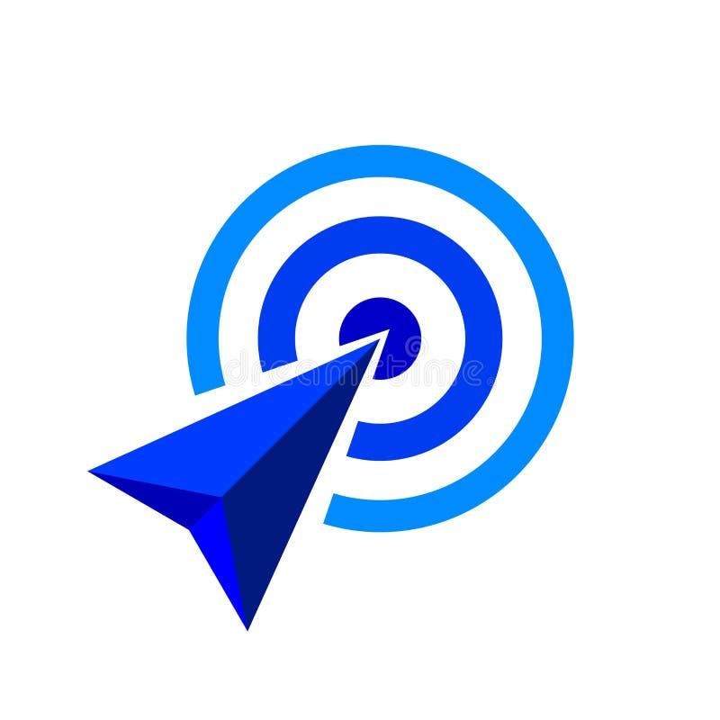 Den blåa pilen av målsymbolet, pilen som det blåa begreppet är, symboliserar målet och framgång, blå pillogo vektor illustrationer