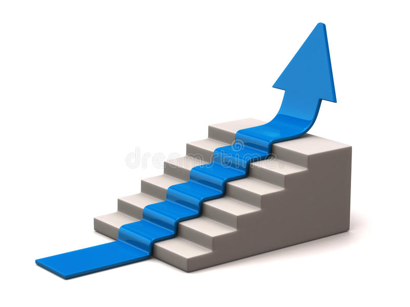Den blåa pilen klättrar uppåt vektor illustrationer