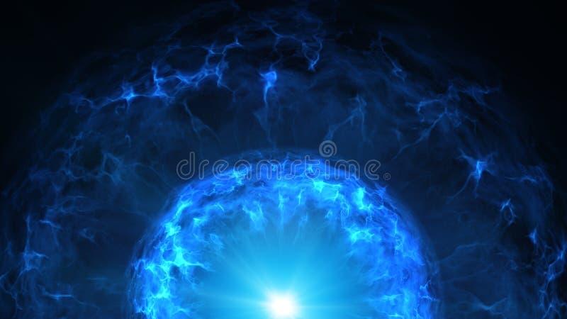 Den blåa plasmabollen med energiladdningar gör sammandrag bakgrund royaltyfri illustrationer