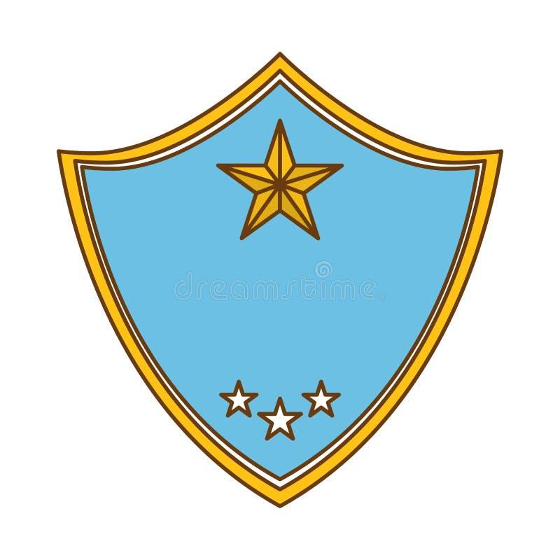 den blåa polisen förser med märke symbolsbild royaltyfri illustrationer
