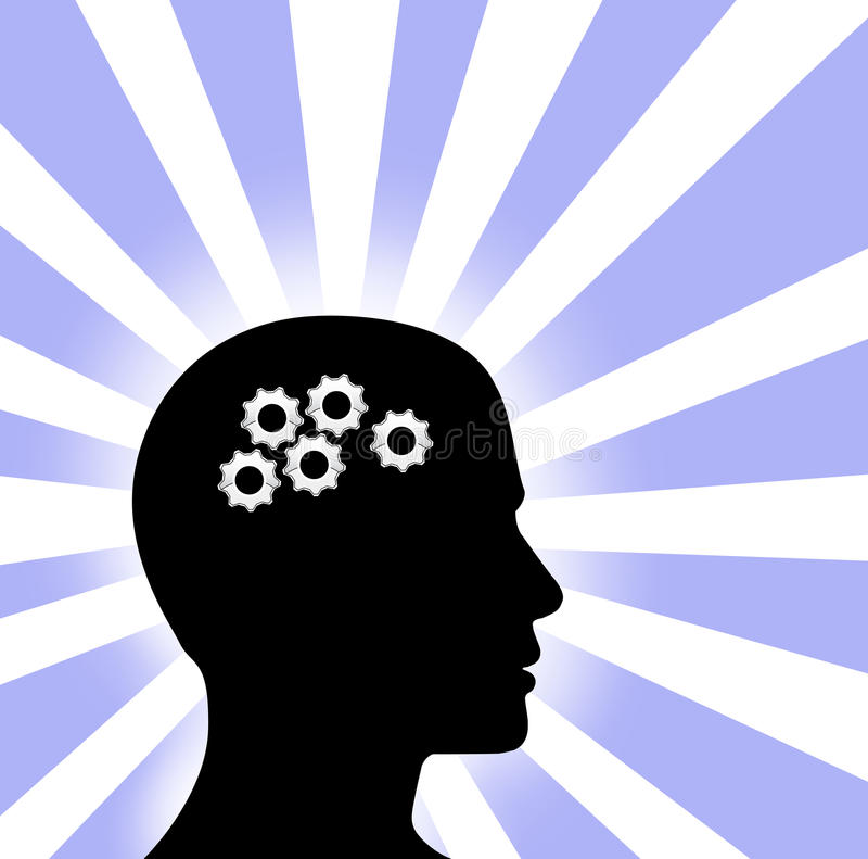 den blåa profilen för kugghjulhuvudmannen rays tänkande white royaltyfri illustrationer