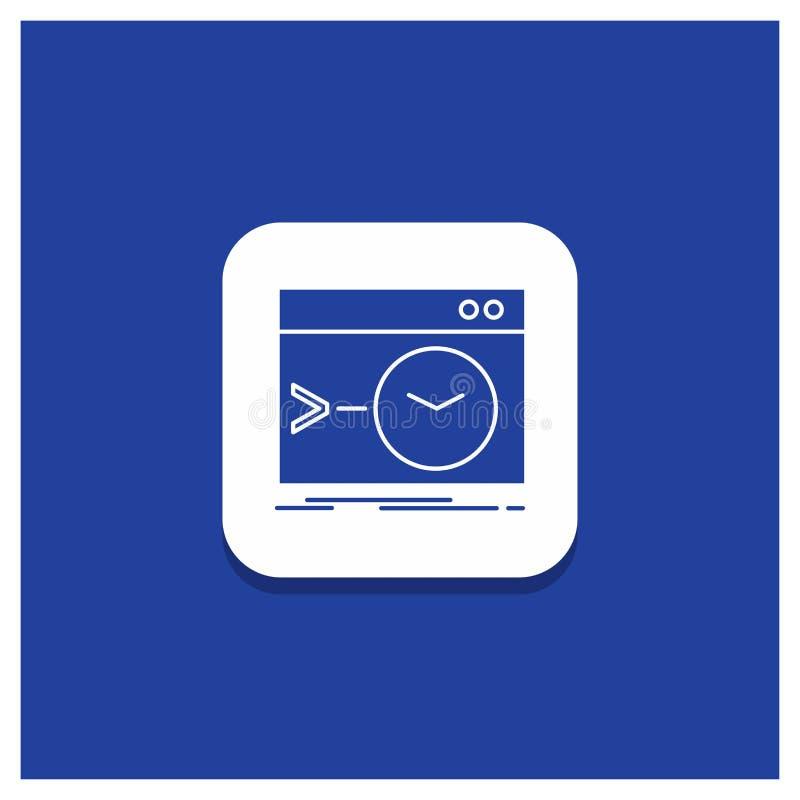 Den blåa runda knappen för Admin, kommando, rotar, programvara, slutlig skårasymbol royaltyfri illustrationer