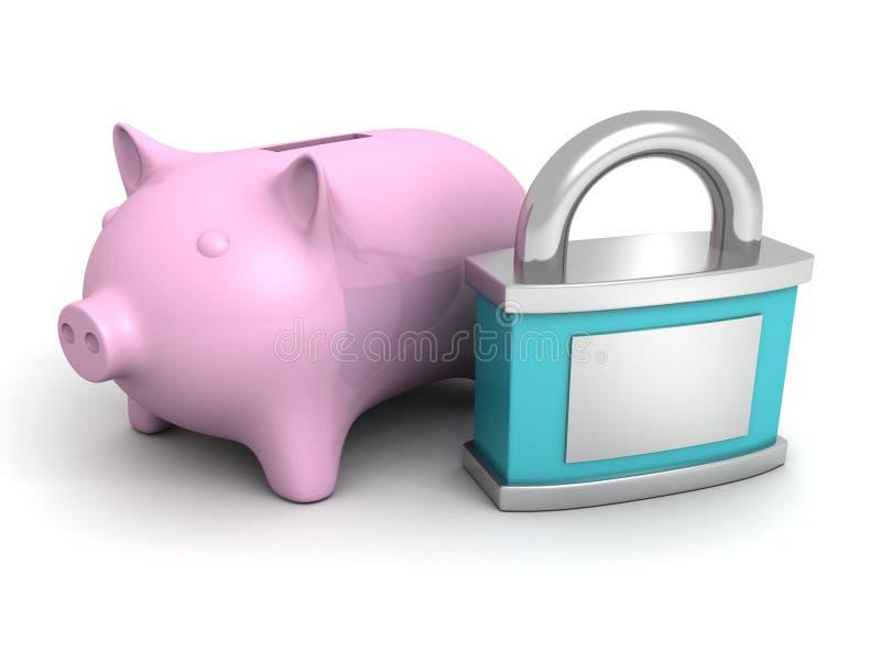 Download Den Blåa Säkerhetshänglåset Och Rosa Piggy Pengar Packar Ihop Stock Illustrationer - Illustration av avskildhet, kreditering: 37349465