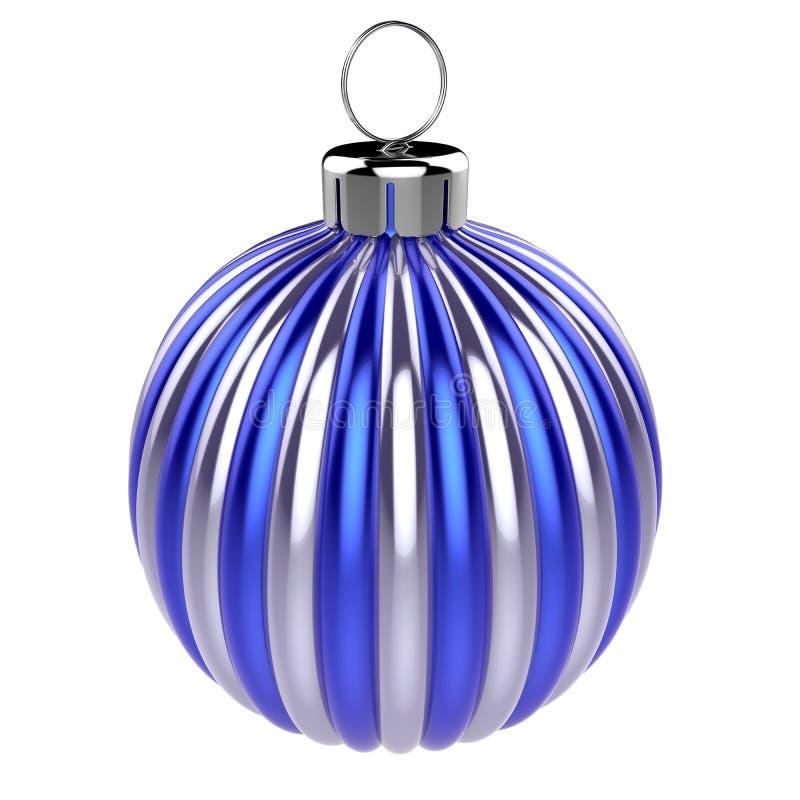 Den blåa silverjulbollen gjorde randig den skinande metalliska dekoren stock illustrationer
