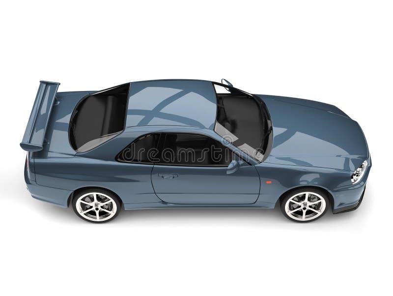 Den blåa stads- sportbilen för frost - överträffa ner sidosikt stock illustrationer
