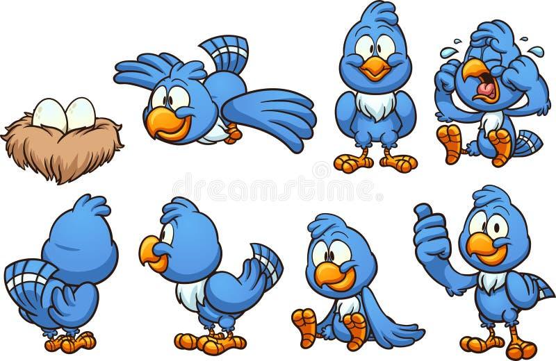 Den blåa tecknad filmfågeln i olikt poserar royaltyfri illustrationer