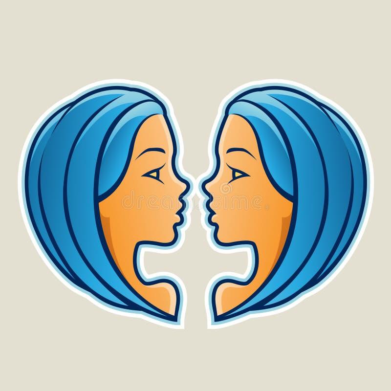 Den blåa Tvillingarna eller kopplar samman symbolsvektorillustrationen royaltyfri illustrationer