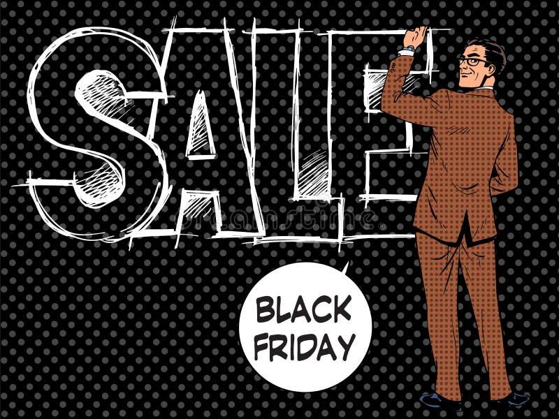 Den Black Friday affärsmannen skriver försäljning stock illustrationer