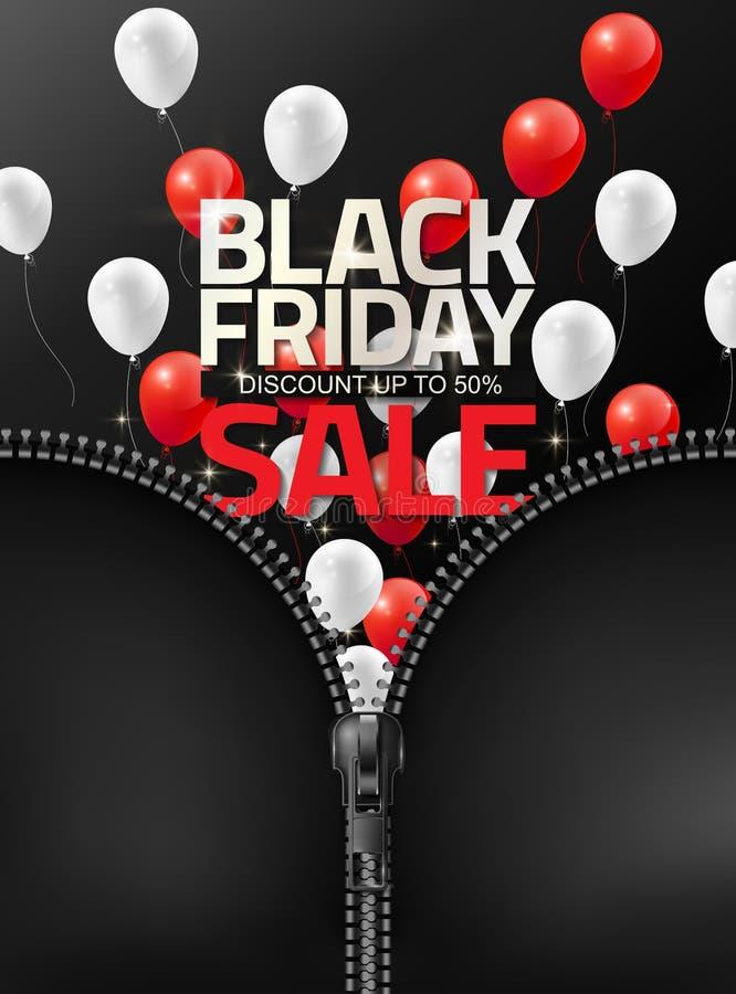Den Black Friday försäljningen med röda vita ballonger öppnas, genom att släpa blixtlåset för reklambladet för designmallbanret,  royaltyfri illustrationer