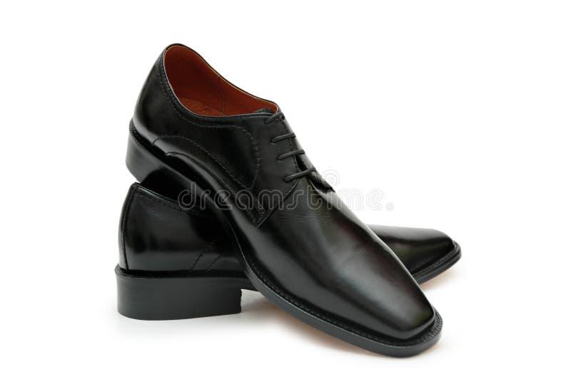 den black isolerade manlign shoes t royaltyfria foton