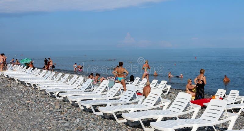 Den Black Sea stranden i Batumi arkivbilder