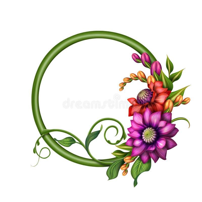 Den blandade färgrika hösten blommar gemkonst, det runda banret, ramen, illustration royaltyfri illustrationer