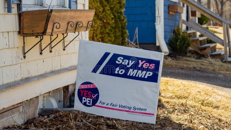 Den blandade folkomröstningen för den proportionella framställningen MMP för medlemmen undertecknar i Charlottetown, PEI royaltyfri foto