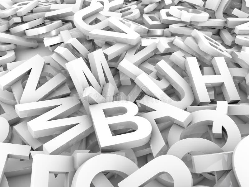 Den blandade ihop högen av 3D illustrerade vita stora bokstavsbokstäver över en vit bakgrund B royaltyfri illustrationer