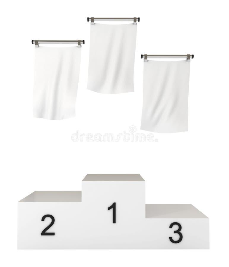 den blanka clippingen flags banapodiumvinnarear vektor illustrationer