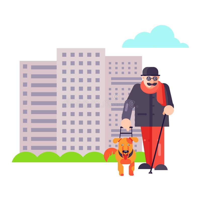 Den blinda handbokmannen går med teckenet för bästa vänhundhusdjuret eller valpillustrationen Familjhjälpreda med det isolerade v vektor illustrationer