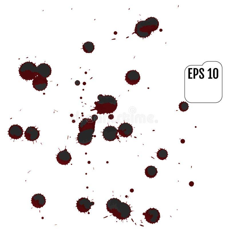 Den blodiga uppsättningen av den realistiska vektorn plaskar Droppe och klick av blod stock illustrationer