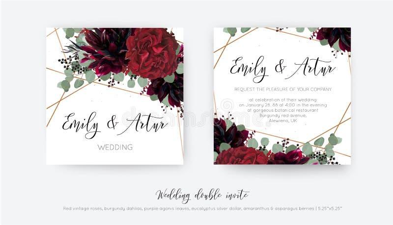 Den blom- bröllopvektorn inviterar, inbjudan sparar datumkortdesignen Rosa blomma för vattenfärgstilrött vin, burgundy dahlia, stock illustrationer