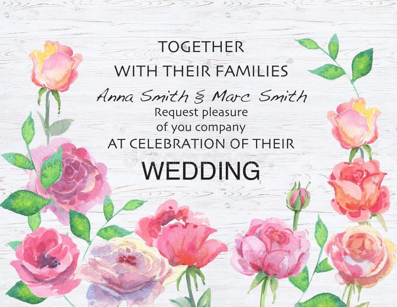 Den blom- bröllopvektorn inviterar inbjudan tackar dig, kortvattenfärgdesign royaltyfri illustrationer