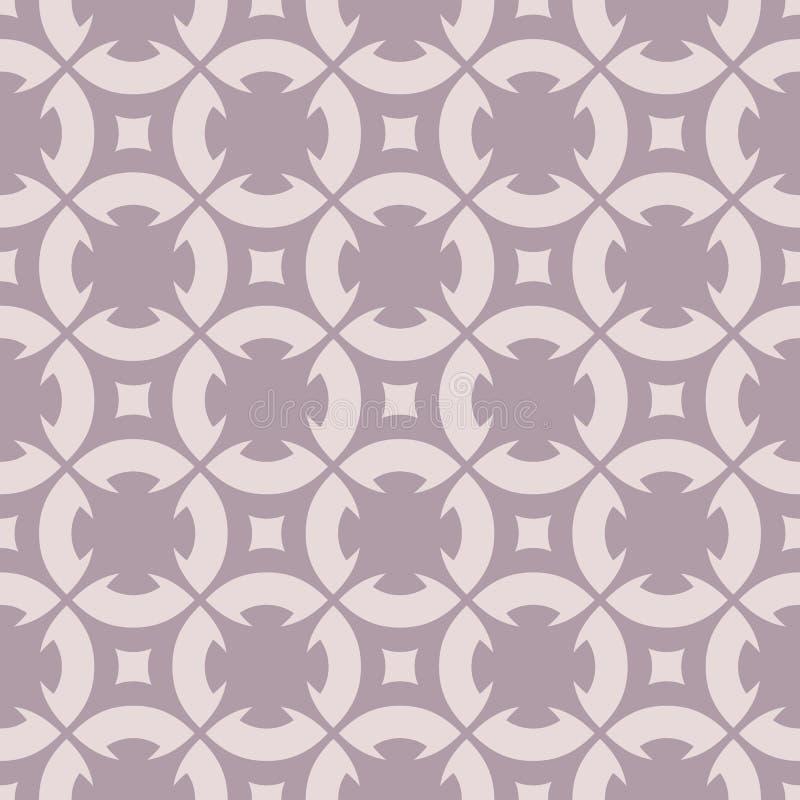 Den blom- geometriska prydnaden i pastellfärgade färger, bleka lilor tonar seamless modell royaltyfri illustrationer