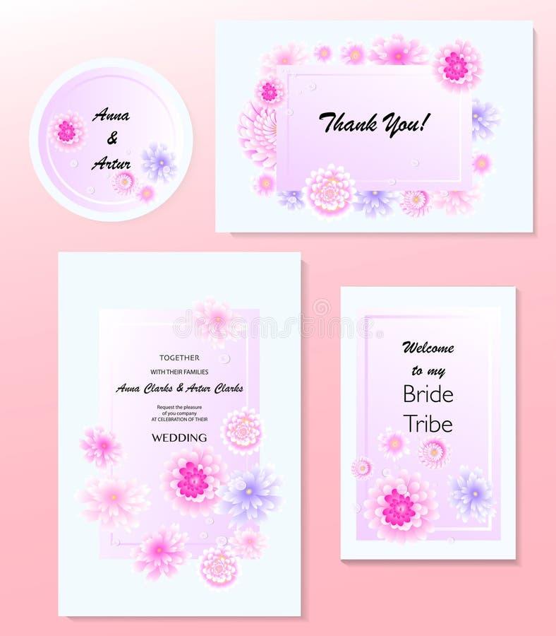 Den blom- gifta sig inbjudan, t-rsvp, sparar datumet, den brud- duschen, förbindelsedagen, kortmalluppsättningen, vattenfärg stock illustrationer