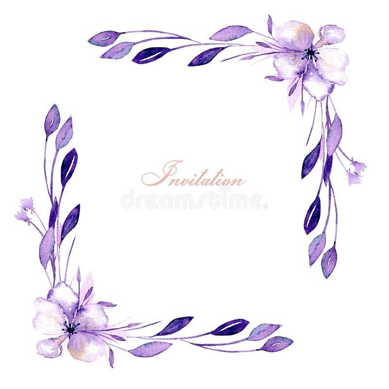 Den blom- hörngränsen med vattenfärgrhododendron blommar och filialer, handen som dras på en vit bakgrund, för att gifta sig, den stock illustrationer