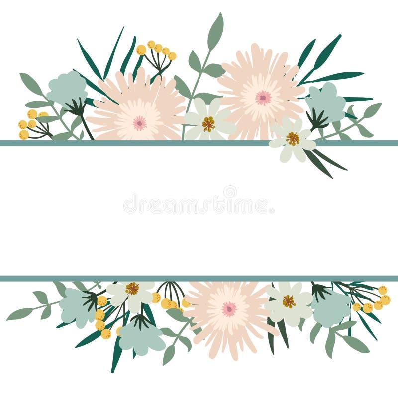 den blom- ramen inramniner serie Räkning för blommabuketttappning Krusidullkort vektor illustrationer