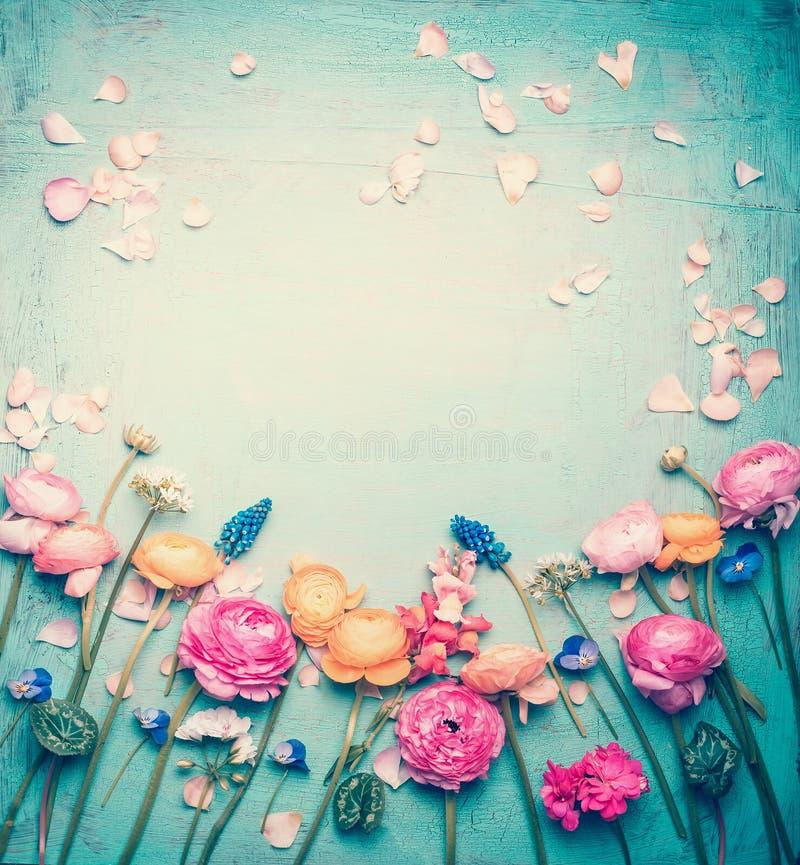 Den blom- ramen med älskvärda blommor och kronblad, retro pastell tonade på tappningturkosbakgrund arkivbilder