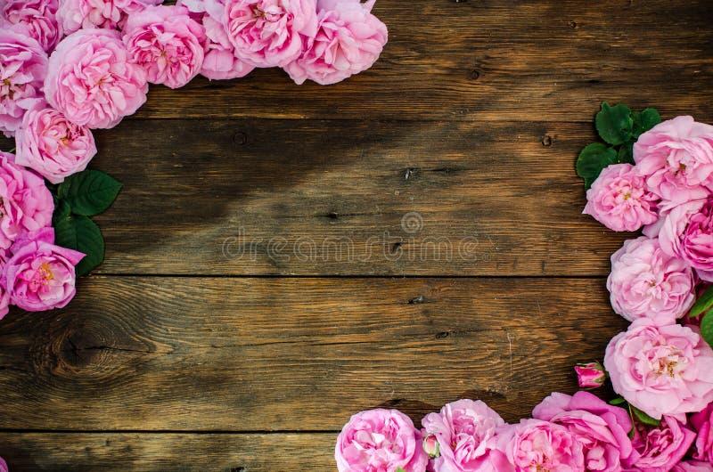 Den blom- ramen med rosa färgrosen blommar på wood bakgrund Ställe för text, bästa sikt royaltyfri bild