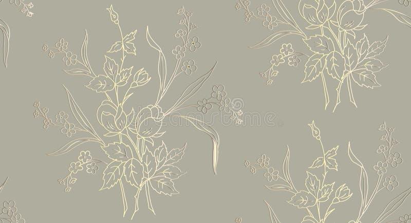 Den blom- sömlösa modellen kan användas för tapeten, textilen som skrivar ut, kort vektorillustration av rosor på ljus bakgrund stock illustrationer