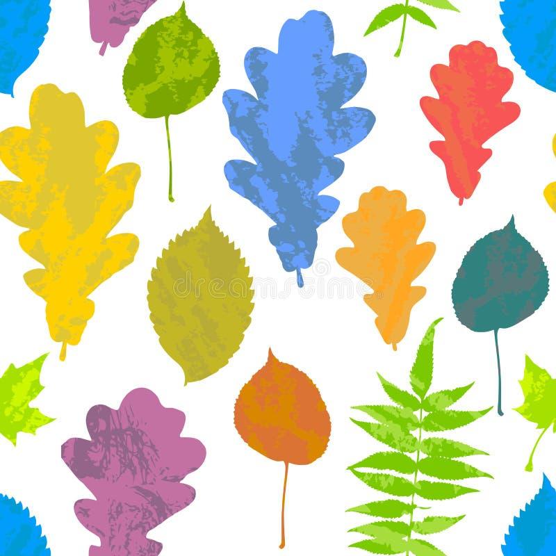 Den blom- sömlösa modellen med höstgrungeguling, rött som är orange, gör grön, slösar trädsidor på vit bakgrund Lönn alm, ek, Asp royaltyfri illustrationer