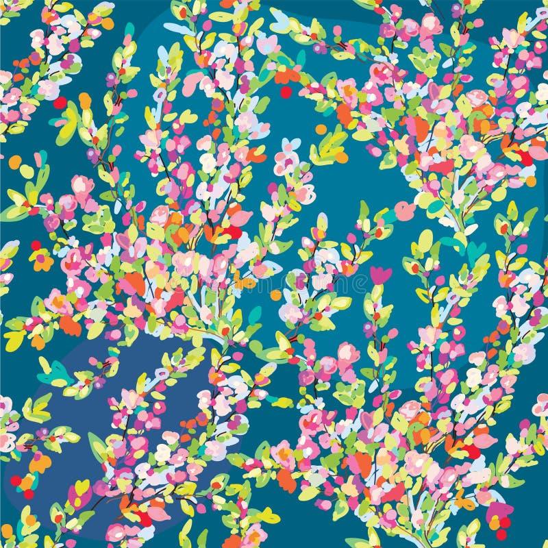 Den blom- sömlösa modellen med handen drog blomningen blommar för vår stock illustrationer