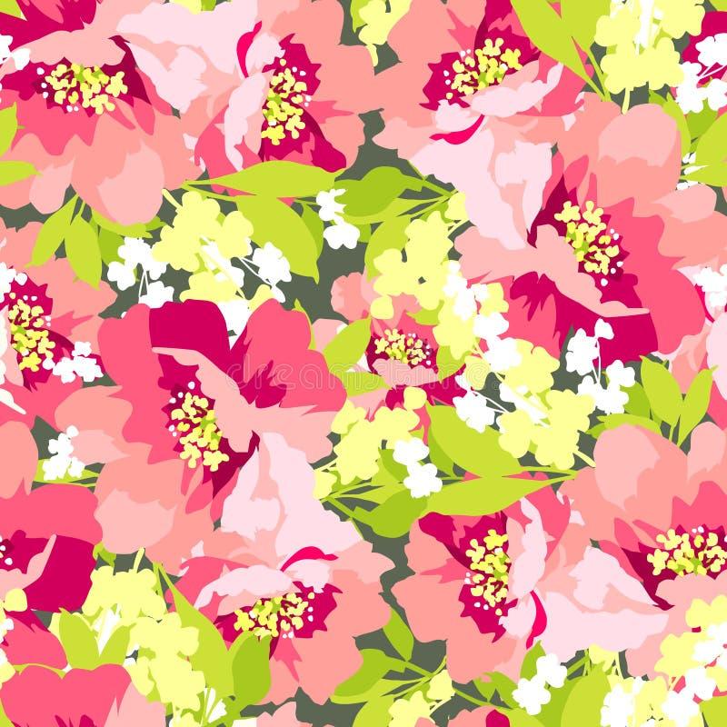 Den blom- sömlösa modellen med lösa blommor steg royaltyfri illustrationer