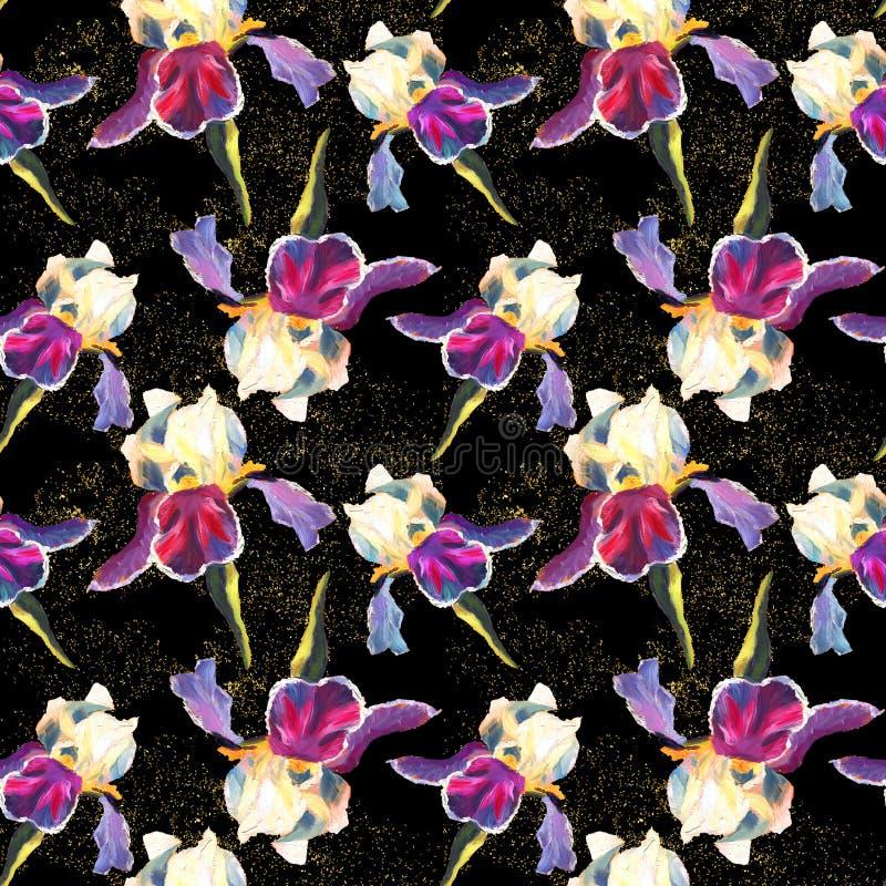 Den blom- sömlösa modellen med olja målade iriers på svart bakgrund med guld- mousserar vektor illustrationer