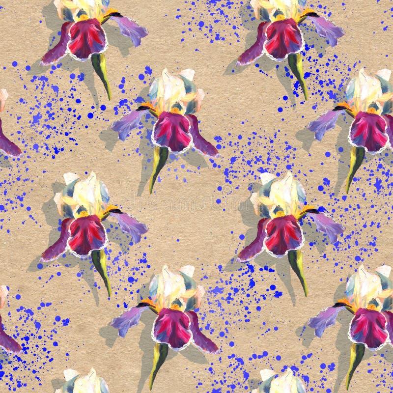 Den blom- sömlösa modellen med olja målade iriers på texturerad bakgrund för hantverk papper med ljusa blåa färgstänk royaltyfri illustrationer
