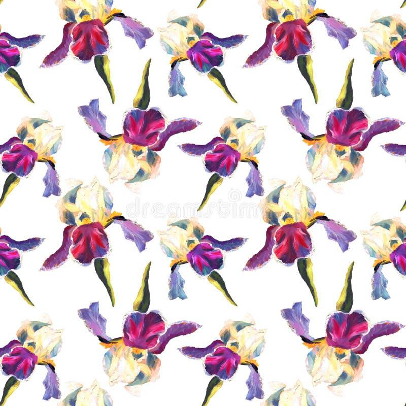 Den blom- sömlösa modellen med olja målade iriers på vit bakgrund stock illustrationer