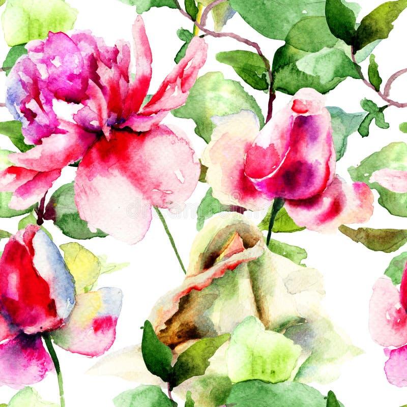 Den blom- sömlösa modellen med pionen och rosor blommar royaltyfri illustrationer